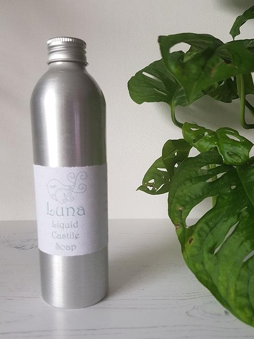 Little Blue hen luna liquid castile soap in aluminium bottle