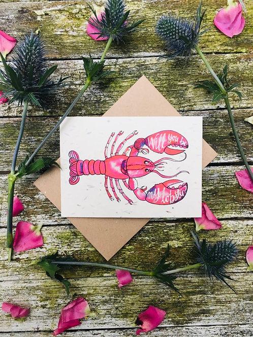 Loop Loop Lobster valentines Wildflower Plantable card