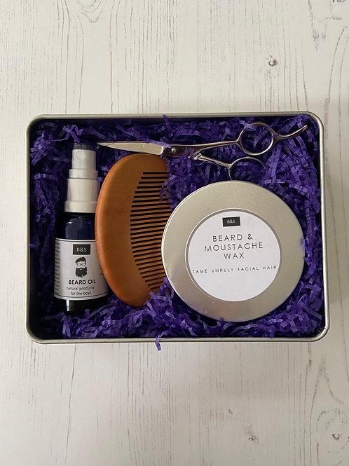 Men's Four Piece Beard Care Set - Bain & Savon beard oil comb scissors beard and moustache wax
