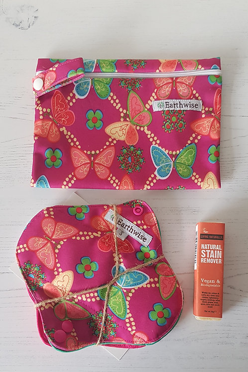 Earthwise sanitary cloth pads set of 3, Earthwise cloth pad wet bag Living Naturally stain remover bar