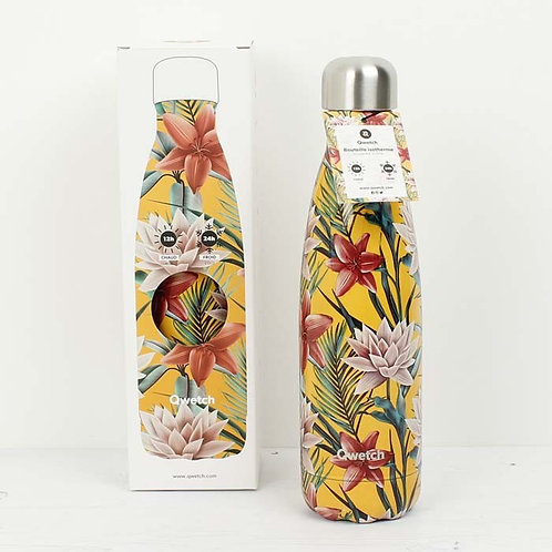Insulated Stainless Steel Bottle 500ml Tropical Yellow Flowers Qwetch with packaging