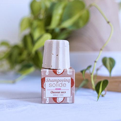 Lamazuna Dry Hair Solid Shampoo bar - Coconut & Orange on top of box packaging