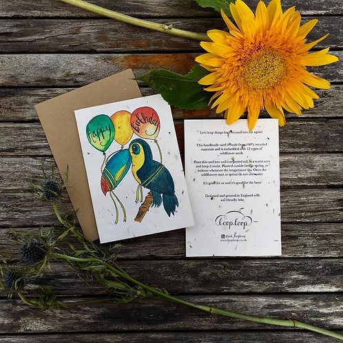 Loop loop Toucan Birthday Card wildflower plantable