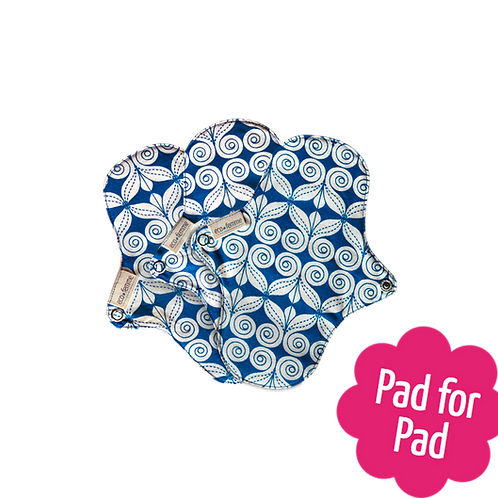 Eco Femme organic panty liners with PUL blue and cream