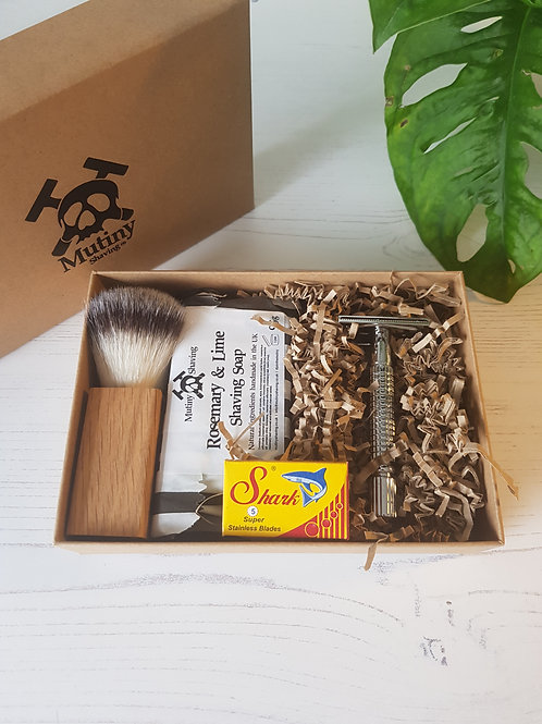 Mutiny safety razor kit, replacement blades, shaving brush, rosemary lime soap in box