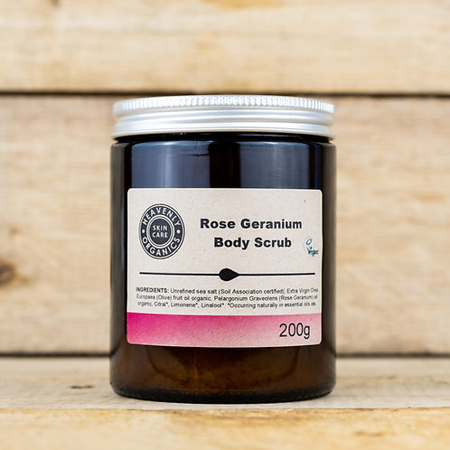 Heavenly Organics Rose Geranium Body Scrub 200g