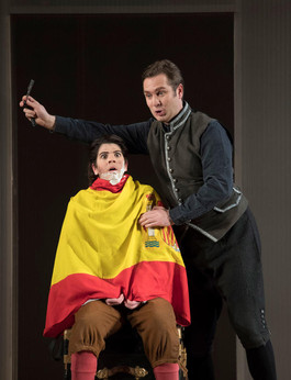 English National Opera, The Marriage of Figaro ©Alastair  Muir 2018  Cherubino Katie Coventry Figaro Thomas Oliemans