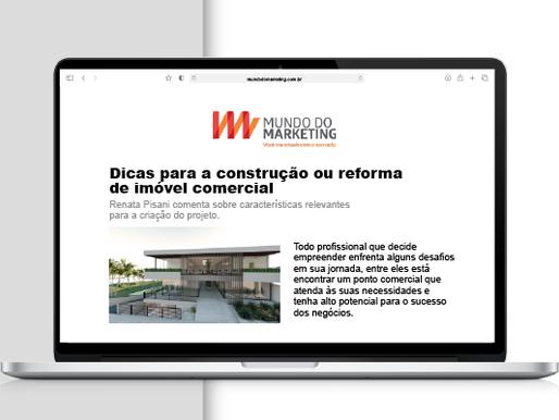 Renata Pisani é destaque na imprensa com dicas para construção ou reforma de imóveis comerciais