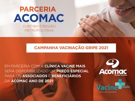 Campanha de Vacinação da Gripe 2021 - Acomac Grande Curitiba fecha parceria com Clínica Vacine Mais