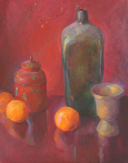 Antique Bottle with Clementines