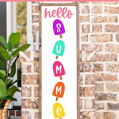 Free SVG Hello Summer vertical porch SIGN