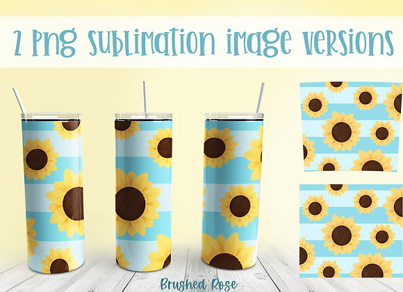 Sunflower tumbler sublimation | Summer striped sub | tapered