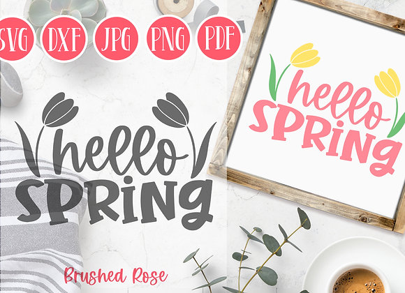 Hello spring svg cutfile with tulip flowers| Spring SVG