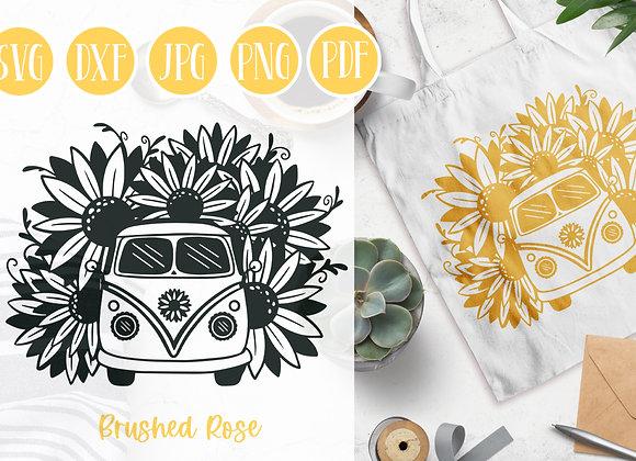 Sunflower SVG | Sunflower bus | Flowers | Vintage Van