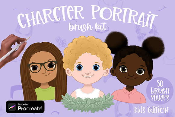 Character Portrait Creator brushes for Procreate | Kids