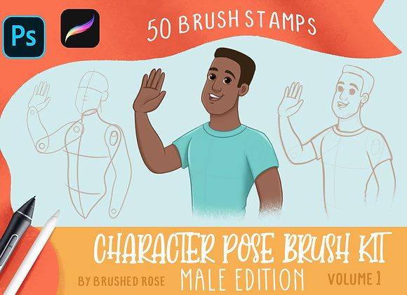 Male Character pose brushes for Procreate and Photoshop