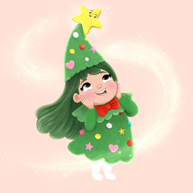 Christmas tree girl