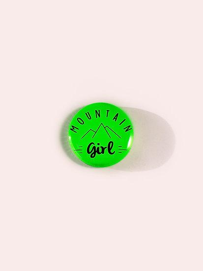 Badge mountain girl vert fluo