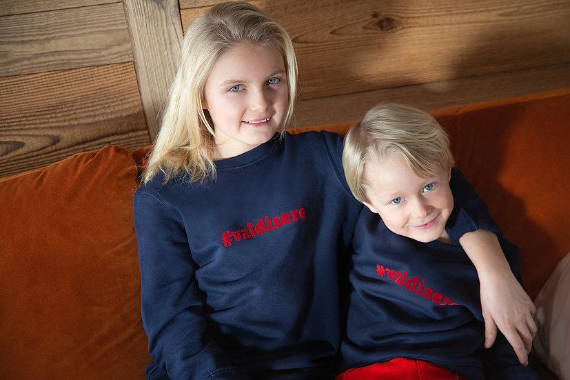 #VALDISERE - Sweatshirt marine velours enfant