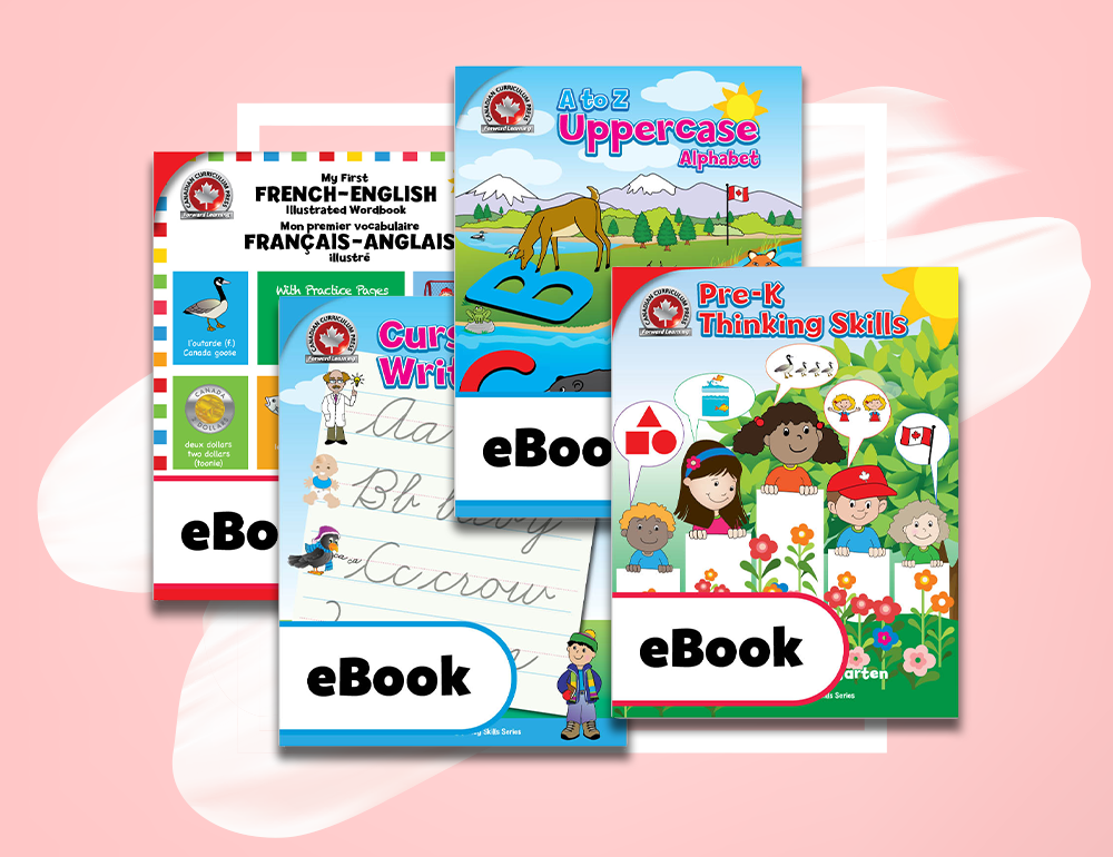We also have four new eBook workbooks set to be released on February 18. That's A-Z Uppercase Alphabet, Pre-K Thinking Skills, Cursive Writing, and French-English Vocabulary. That's our entire Key Skills and Activity series available in eBook format. Our printable eBooks allow you to buy our content in a safe and convenient format.