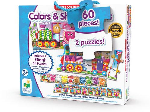 Puzzle Doubles - Giant Colors and Shapes Train Floor Puzzles - 60 Pieces
