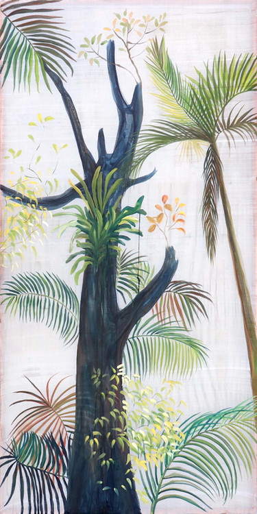 Tree with orchid leaves, Traditional Pigments Hengul Haital on Mulberry silk, 100 x 200 cm, 2021