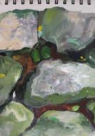 River Stones, Acrylic on Paper, 12 x 18 cm, 2017