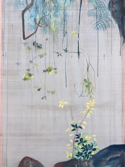 Priesvit 3, Natural Pigments on handmade silk