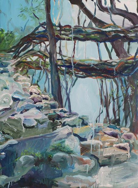 Steps to Double decker Root Bridge, Acrylic on canvas, 100 x 75 cm, 2017