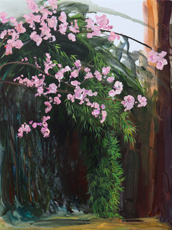 Cherry Blossom and Bamboo, acrylic on canvas, 100 x 75 cm, 2020