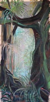 Priesvit 1, Acrylic on transparent silk material, 145 x 240 cm, 2019