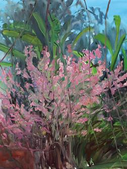 Cherry Blossom, willow and banana tree, Acrylic on canvas, 100 x 125 cm, 2020