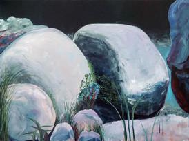 Rilang stones, Acrylic on canvas, 100 x 75, 2017