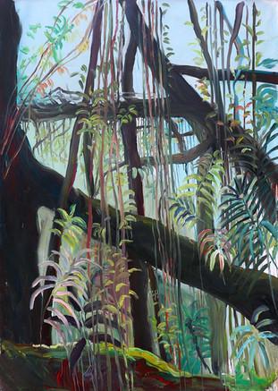 Mawkyrnat Rootbridges, Acrylic on Canvas, 195 x 135 cm, 2019