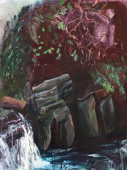 Stones at Elephant Falls, Acrylic on canvas, 130 x 100 cm, 2020