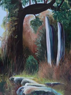 Monoliths near Sacret Forest, Acrylic on canvas, 185 x 135 cm, 2020