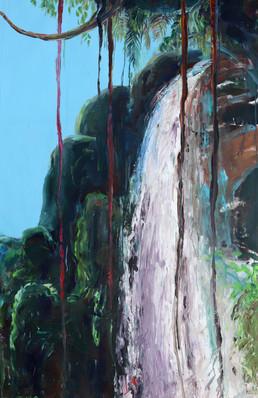 Brydew Waterfall, Acrylic on Canvas 100