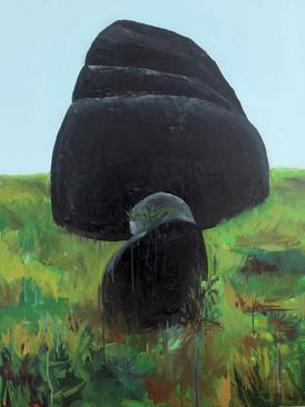 Mawkyrwat stone, Acrylic on canvas, 100 x 75 cm 2017