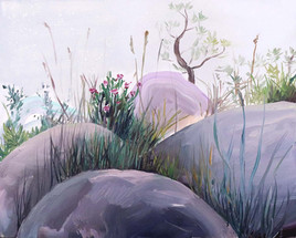 Pink Stones, Acrylic on Canvas, 62 x 50 cm, 2019