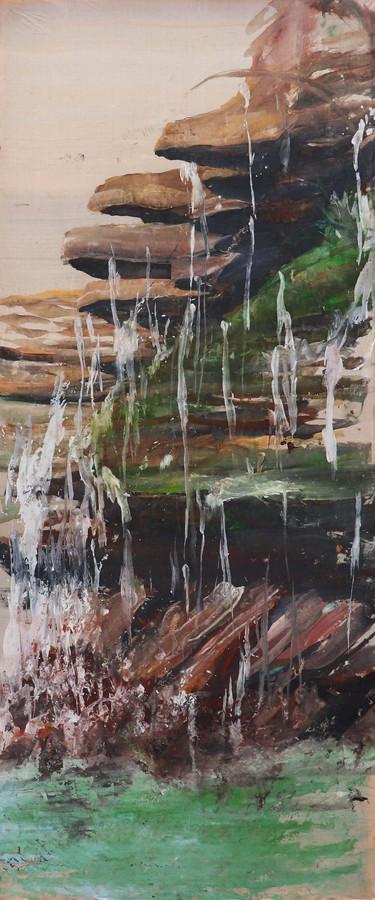 Pengshuwa, Pigments on Tussar Silk, 85 x 205 cm, 2021
