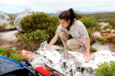 Medical emergency while hiking. woman ha