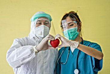 Asian doctor couples wear protective clo