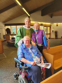 Fr. Jon with Roberta and Sr. Katherine after the Saturday Vigil Mass