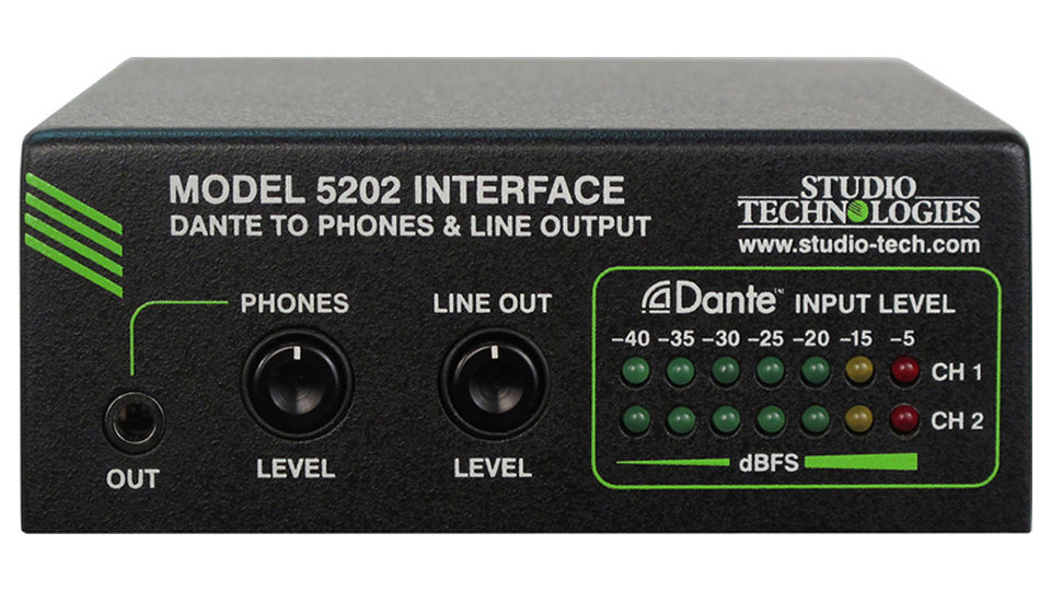 Studio TechnologiesModel 5202 Dante to Phones and Line Output Interface