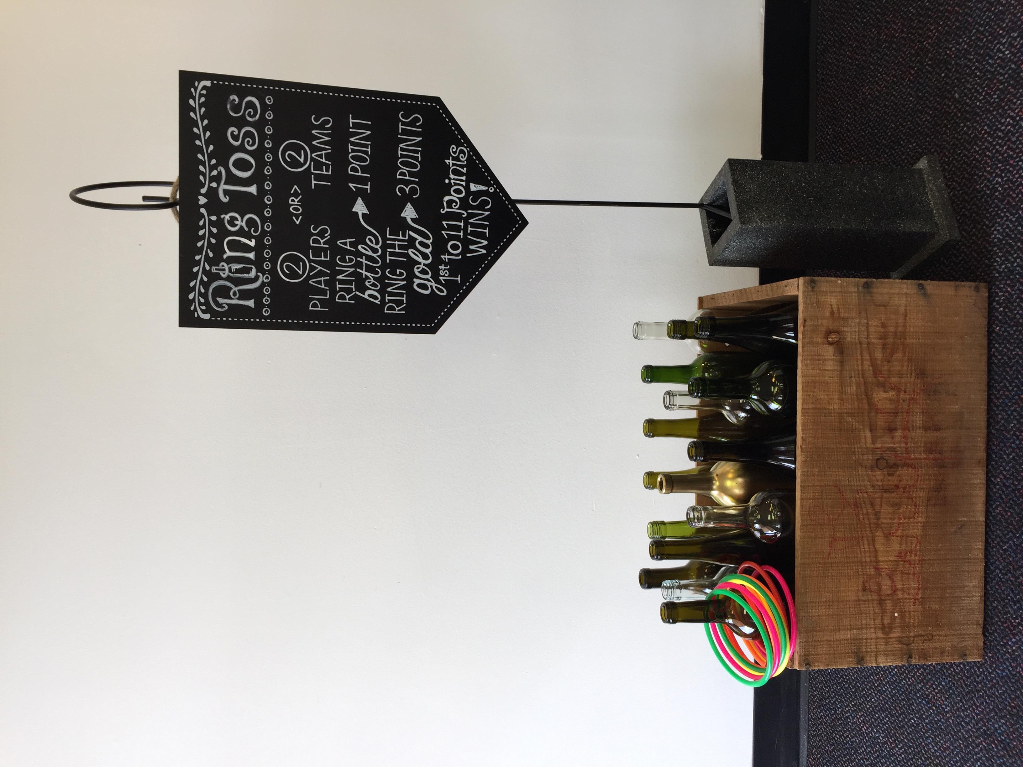 Wine Bottle Ring Toss w/ Sign