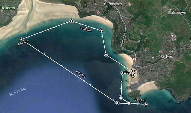 Satellite map of the boat trip around St Ives Bay