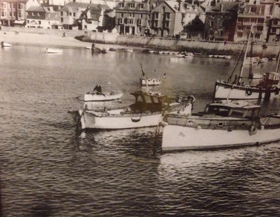 The Cornish Crest Boat in St ives harbour in 1950s next to the original Seahorse Black and white