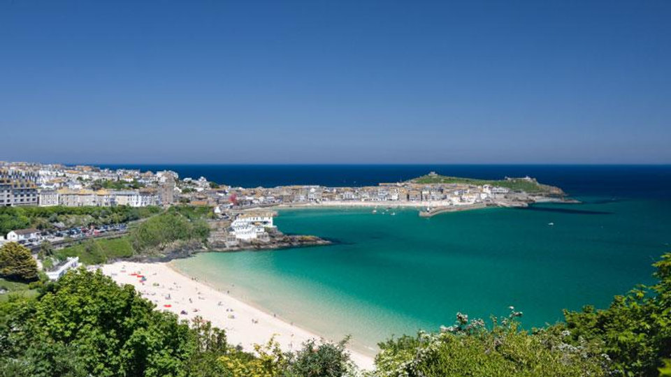 View of St. Ives from above Porthminster beach