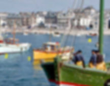 The Cornish Crest Boat in St ives harbour in 1970s Colour photo