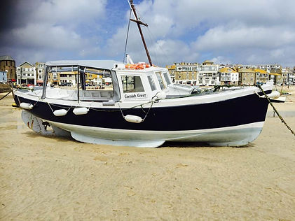 The Cornish Crest boat 2017 With the tide out in St Ives Harbour